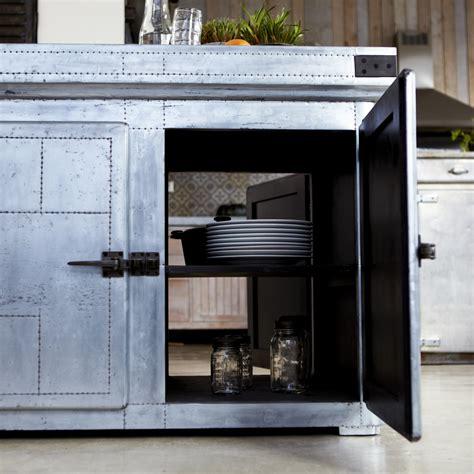 Tikamoon Zinc Industrial Kitchen Island Cupboard Dresser