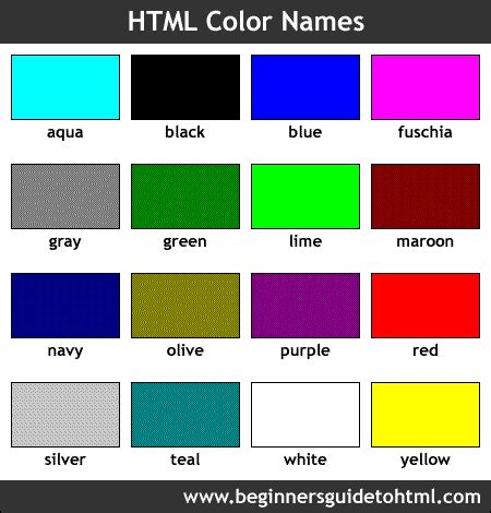 colors and names names of colors