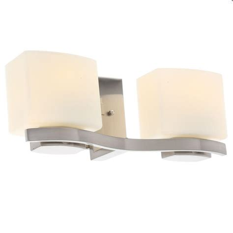Hton Bay 2 Light Brushed Nickel Bath Light 05380 The Home Depot Hton Bay 2 Light Brushed Nickel Vanity Light With Etched White Glass Shades 25089 The Home