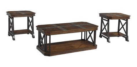 vinasville 3pc medium brown coffee table set dallas