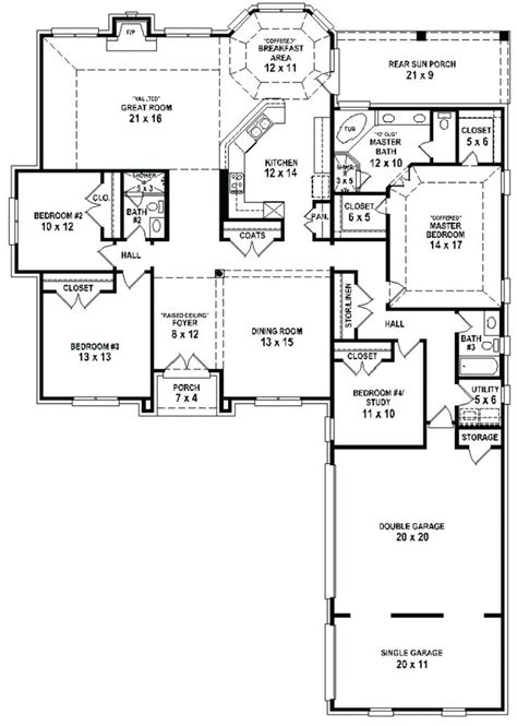 4 bedroom single story house plans home design 1 story 4 bedroom 3 bath house plans floor 2