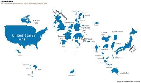 12 Countries In Top 20 Affordable Luxury Markets by World Map With Countries The Size Of Their Stock Markets Boing Boing