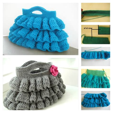 crochet ruffle bag pattern diy crochet bella ruffled bag with free pattern