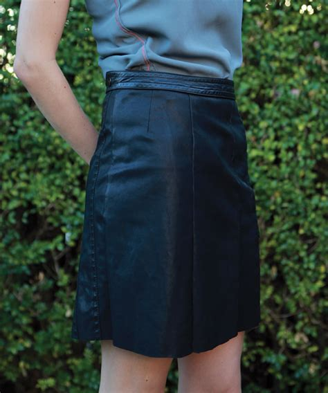 diy upcycled leather skirt from a leather jacket among