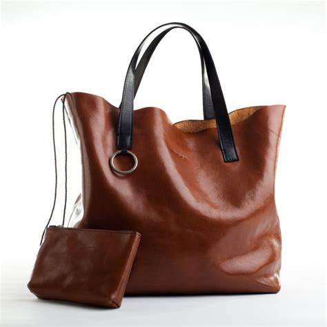 handmade large leather tote bag in whiskey brown by
