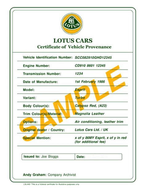 certification letter for ownership certificate of provenance lotus cars