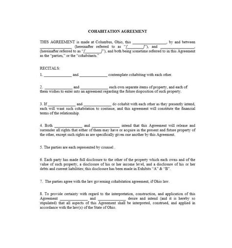 cohabitation agreement bc template awesome cohabitation agreement template photos resume