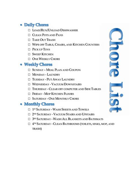 household chore list  editable printable