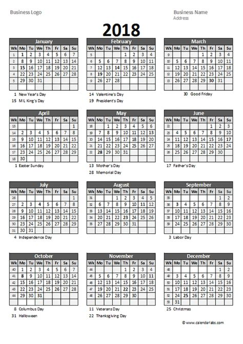 printable yearly calendar by week 2018 yearly business calendar with week number free
