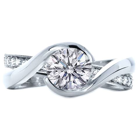 twisted criss cross pave diamonds engagement