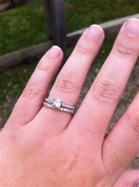princess cut engagement ring what wedding band looks