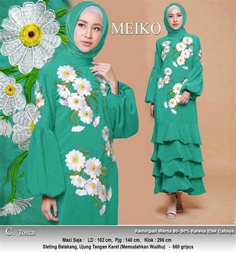 Baju Kaftan Bordir Bunga gamis polos motif bunga meiko toska model baju gamis terbaru