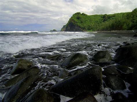 black sand beach hawaii nature black sand beach hawaii picture nr 47098