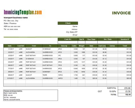 sle invoice of movers and packers transportation invoice