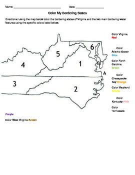 virginia state colors color virginia bordering states worksheet by helping