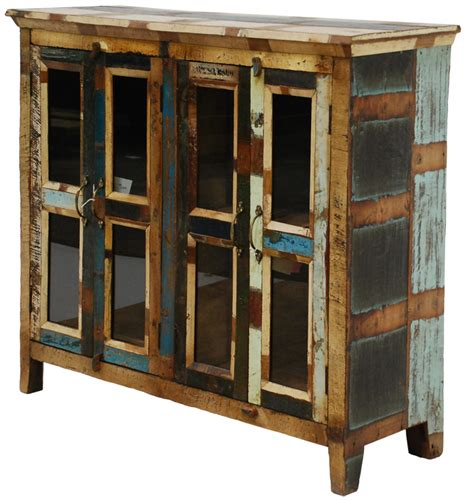 Rustic Painted Furniture by Distressed Painted 4 Door Cabinet Rustic Furniture Mall
