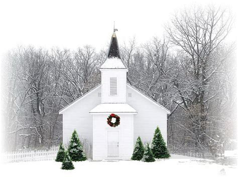 country christmas church snowing painting in oil for sale