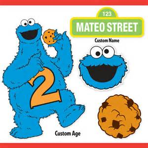 custom printable sesame street cookie monster centerpiece