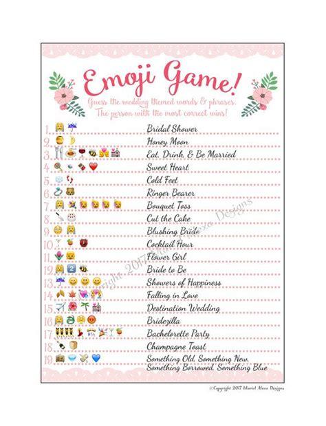 printable emoji games emoji pictionary emoticon game bridal shower printable