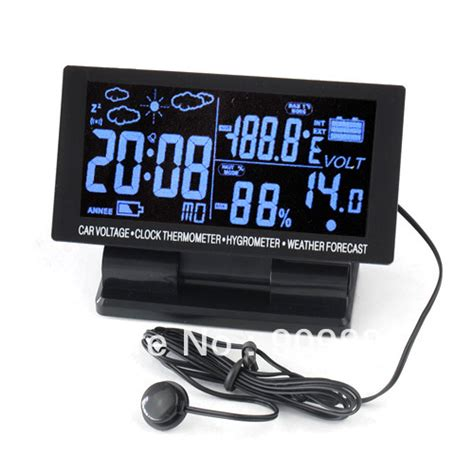 Armpit Termometer Isi 12 Diskon aliexpress buy 12v large lcd 4in1 digital car thermometer hygrometer weather forecast