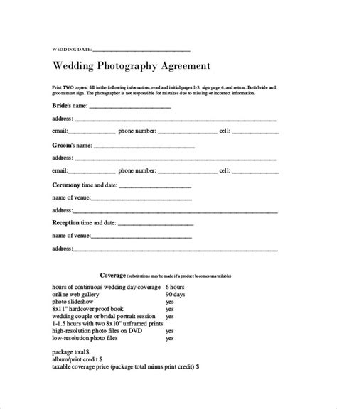 Agreement Letter For Photography Photography Agreement Contract Sle 7 Exles In Word Pdf