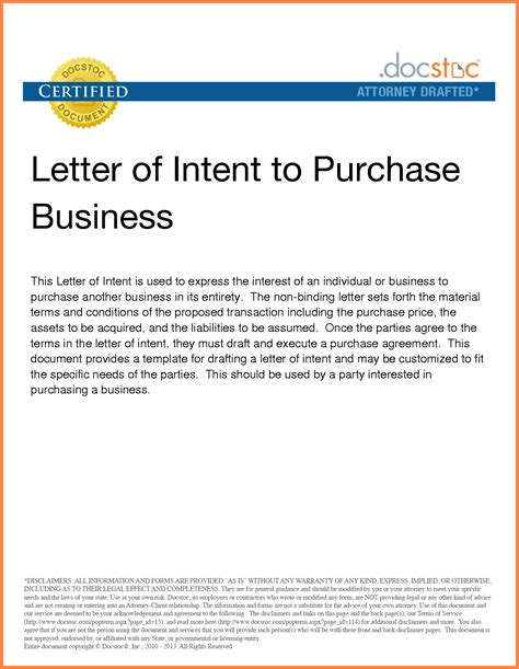 letter intent purchase business template