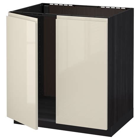 Ikea High Gloss Kitchen Cabinet Doors Metod Base Cabinet For Sink 2 Doors Black Voxtorp High Gloss Light Beige 80x60 Cm Ikea