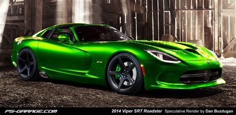2013 srt viper gts loses part of its top and gains a limey green shade in new rendering