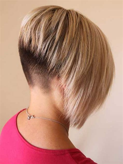 2016 pretty inverted bob hairstyles short hair with blonde highlights