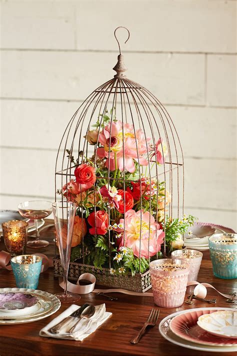 Birdcage Centerpiece Great mix for our floral birdie