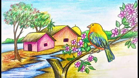 draw scenerylandscape  spring season step