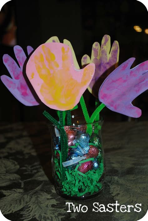 crafts flower easter s day handprint flowers craft preschool
