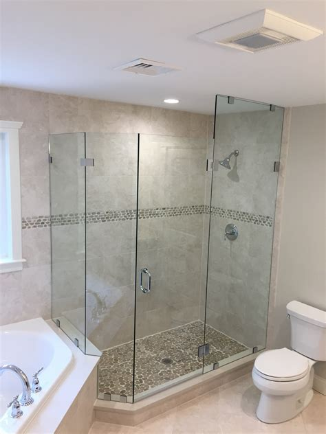 custom neo angle shower doors glass shower door gallery franklin glass company
