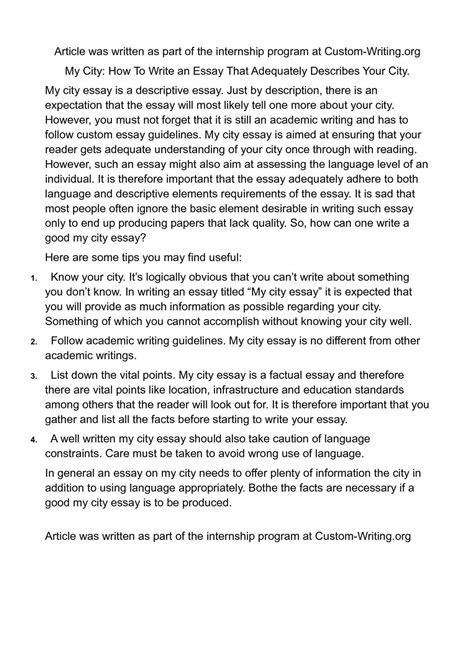 Descriptive Essay Small Town by Calam 233 O My City How To Write An Essay That Adequately Describes Your City