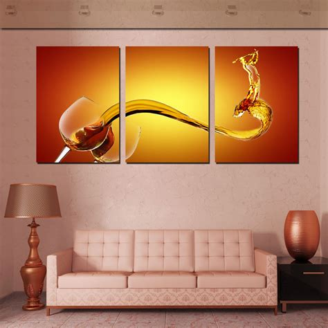 canvas wall decor 3 wall picture wine splash wall canvas