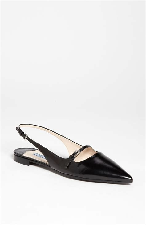 flat slingback shoes prada pointed toe slingback flat in black lyst