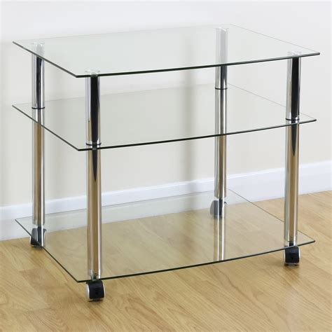 mobile 3 uk mobile chrome clear glass 3 shelf tv stand trolley unit