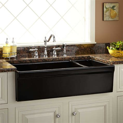 black double bowl sink 36 quot gallo reversible 80 20 offset double bowl fireclay