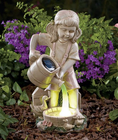 Outdoor Decor Statues by Solar Power Watering Garden Accent Statue Lawn