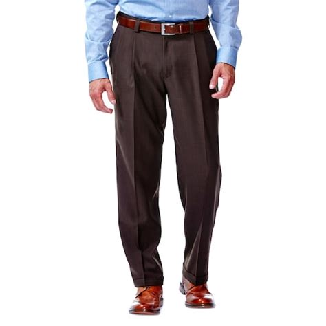 comfort waist dress pants for men haggar 174 eclo stria no iron classic fit pleated comfort