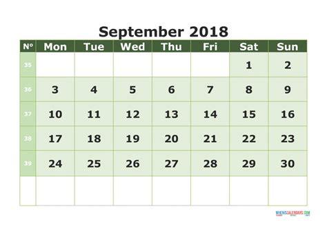 printable calendar 2018 with week numbers printable calendar september 2018 with week numbers