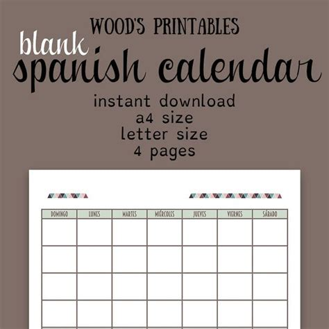 blank spanish calendar printable calendar by