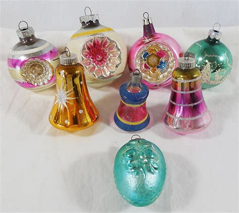 vintage lot of 8 mercury glass christmas holiday tree