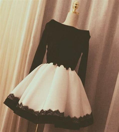 Little Cute   Elegant black and white long sleeve short prom dress,evening dress,homecoming