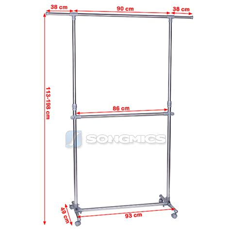 picture hanging height songmics double garment rack adjustable height clothes