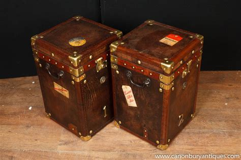 Leather Steamer Trunk Side Tables Luggage Box Coffee Table Leather Steamer Trunk Coffee Table
