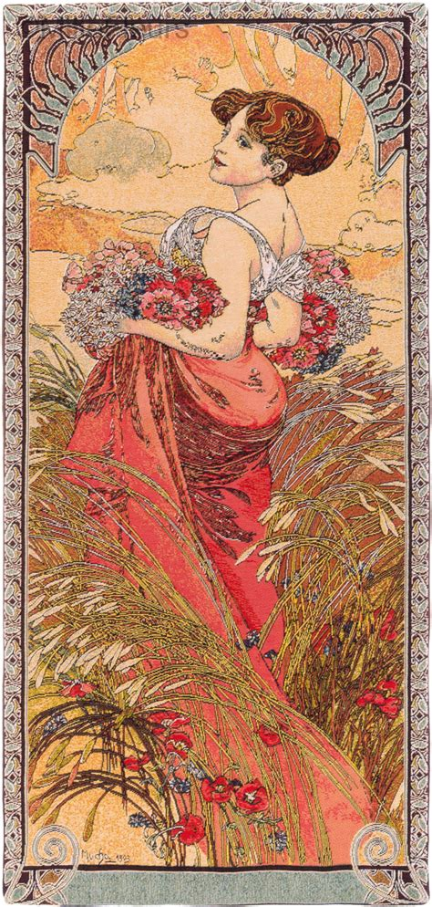 Tapisserie Mucha by Et 233 Alfons Mucha Tapisseries Murales Mille Fleurs