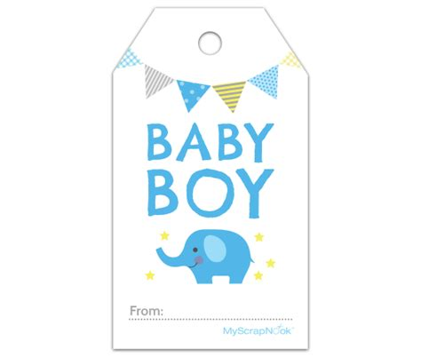 printable baby gift certificates download this boy baby blue elephant gift tag and other