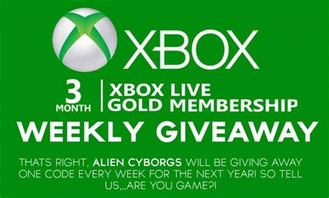 Xbox Live Sweepstakes - alien cyborgs xbox 3 month live gold membership giveaway