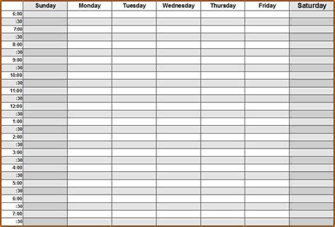9 blank weekly schedule wedding spreadsheet